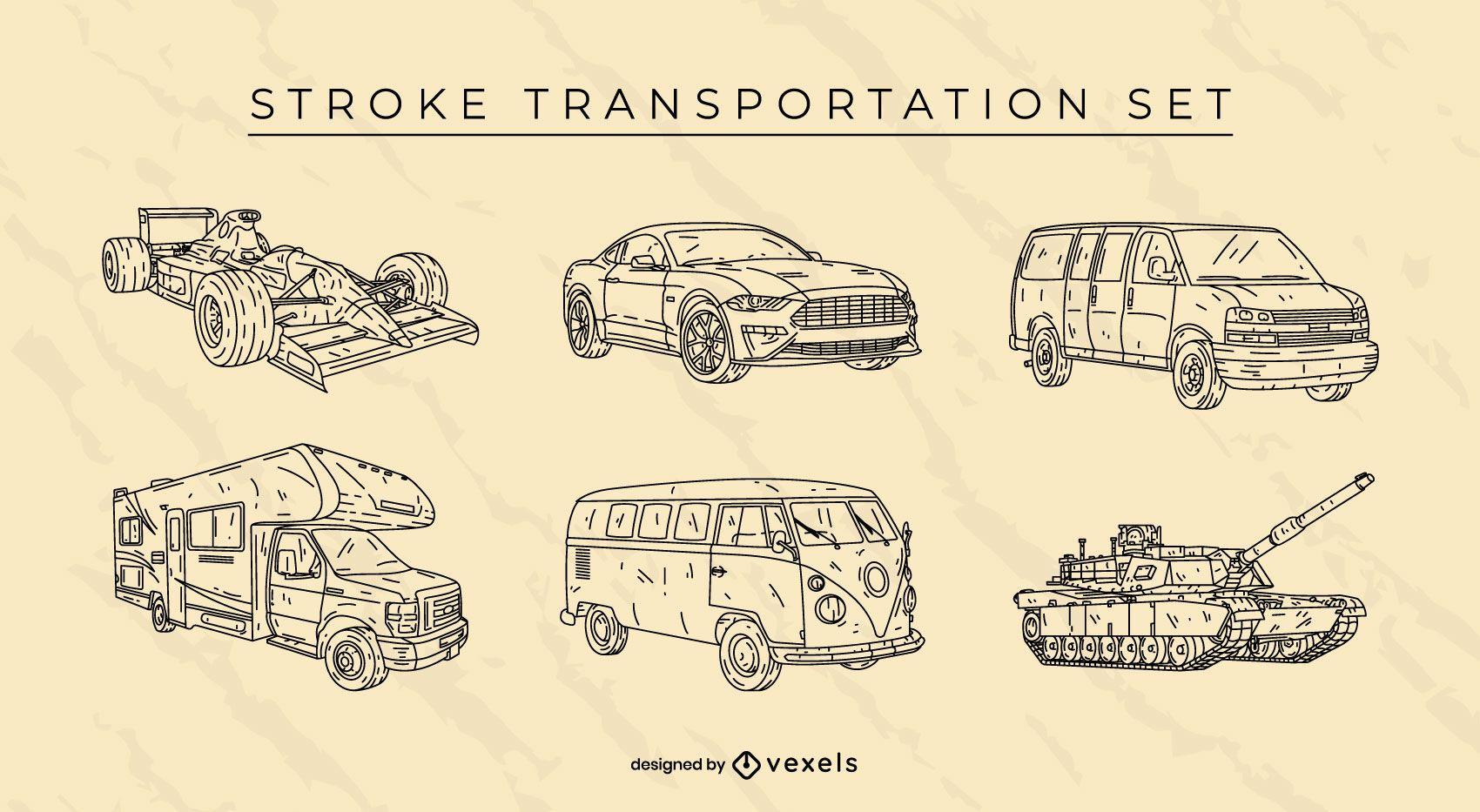 Conjunto de coches de transporte dibujados a mano.