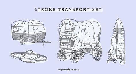 Conjunto vintage de transporte desenhado à mão