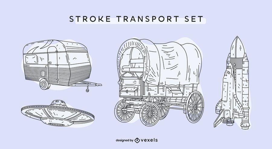 Transporte conjunto dibujado a mano vintage.
