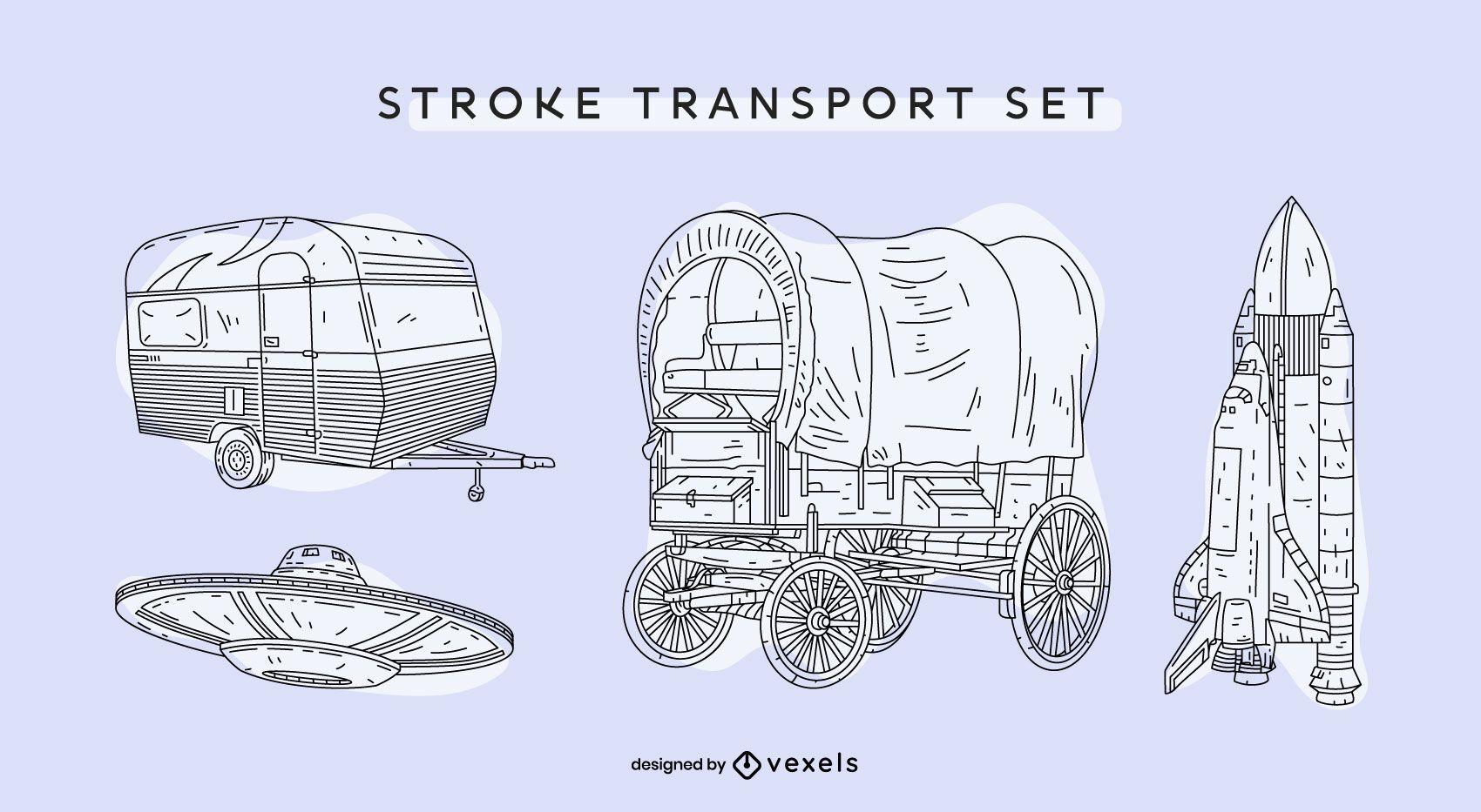 Transportation vintage hand-drawn set