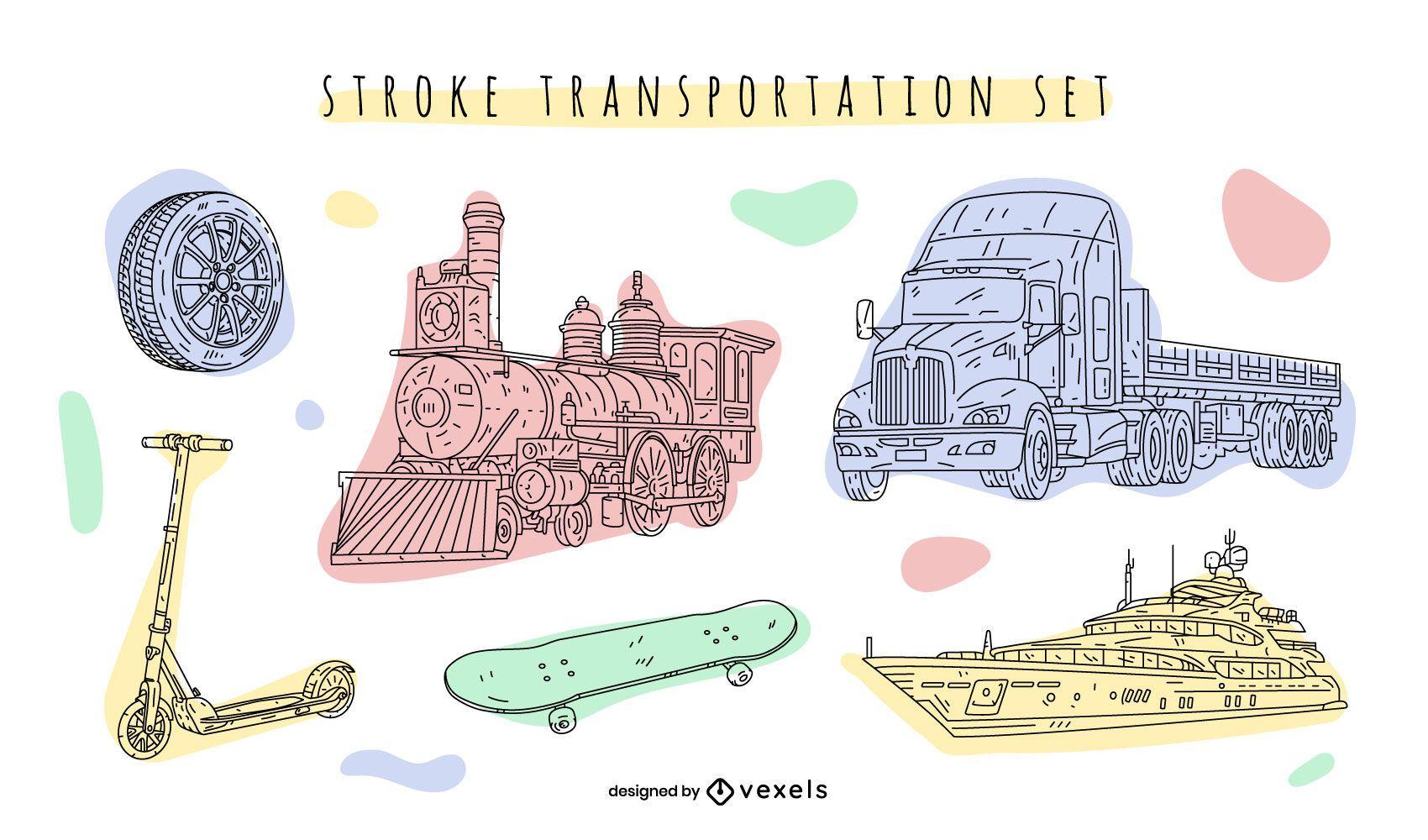 Transportation hand-drawn color set