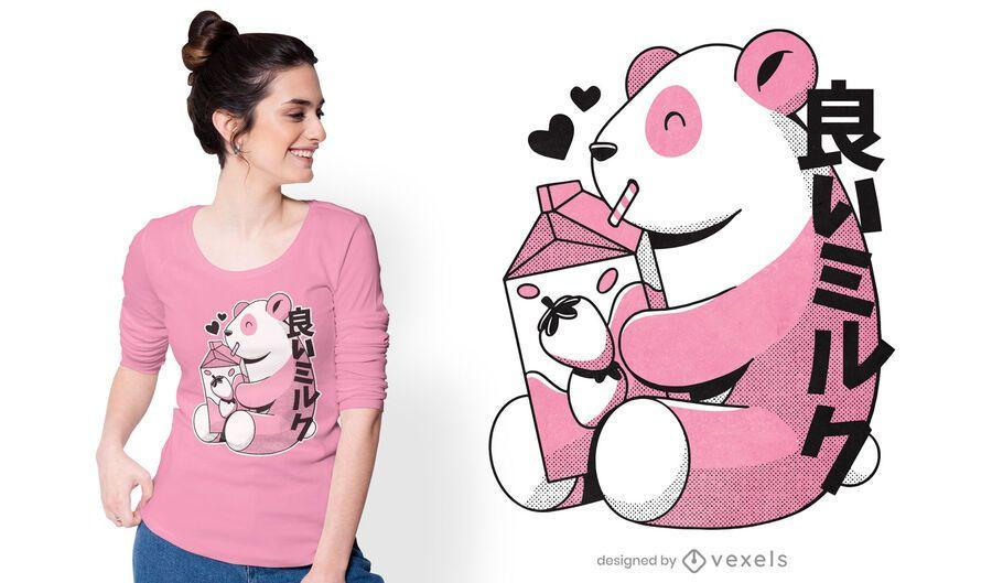 Diseño de camiseta de panda japonés