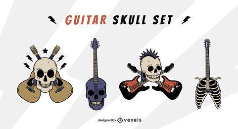 Conjunto de rock and roll de instrumento de guitarra de calavera