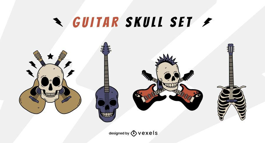 Skull guitar instrument rock and roll set