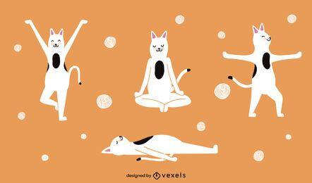 Conjunto de caracteres de gatos fazendo ioga