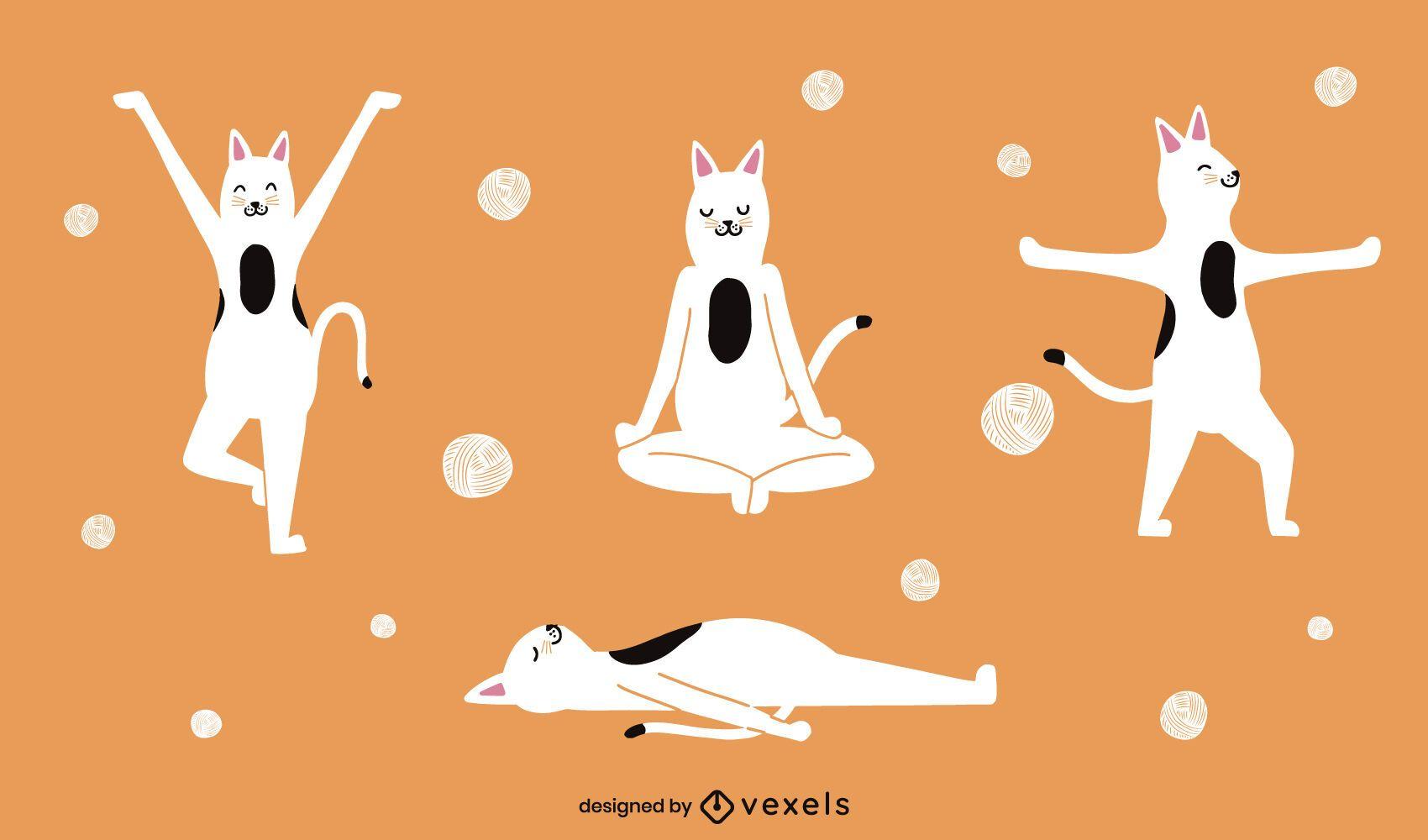 Gatos haciendo juego de caracteres de yoga.