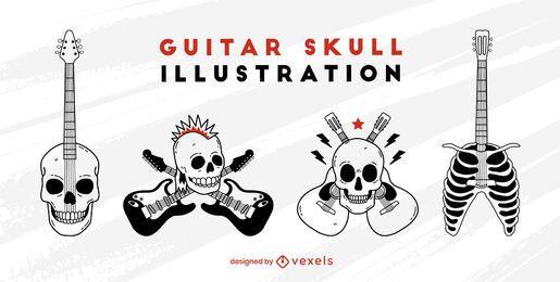 Conjunto de rock and roll de guitarra elétrica de caveira
