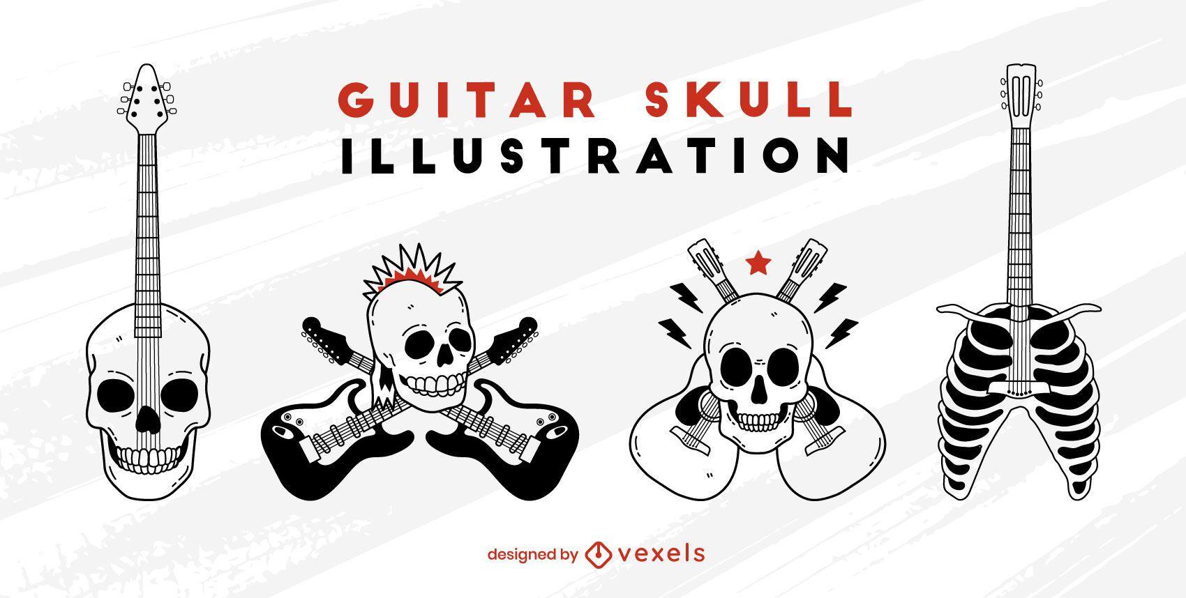 Conjunto de rock and roll de guitarra eléctrica de calavera