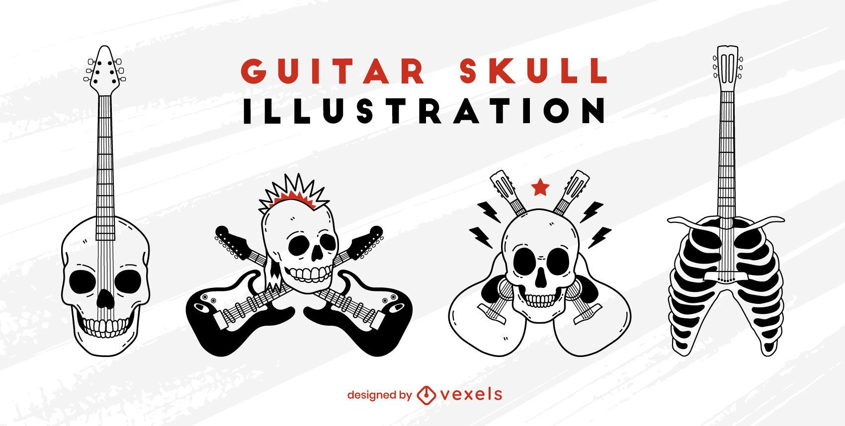 Skull electric guitar rock and roll set