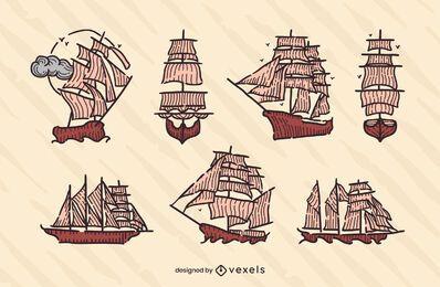 Vintage sailing ships set