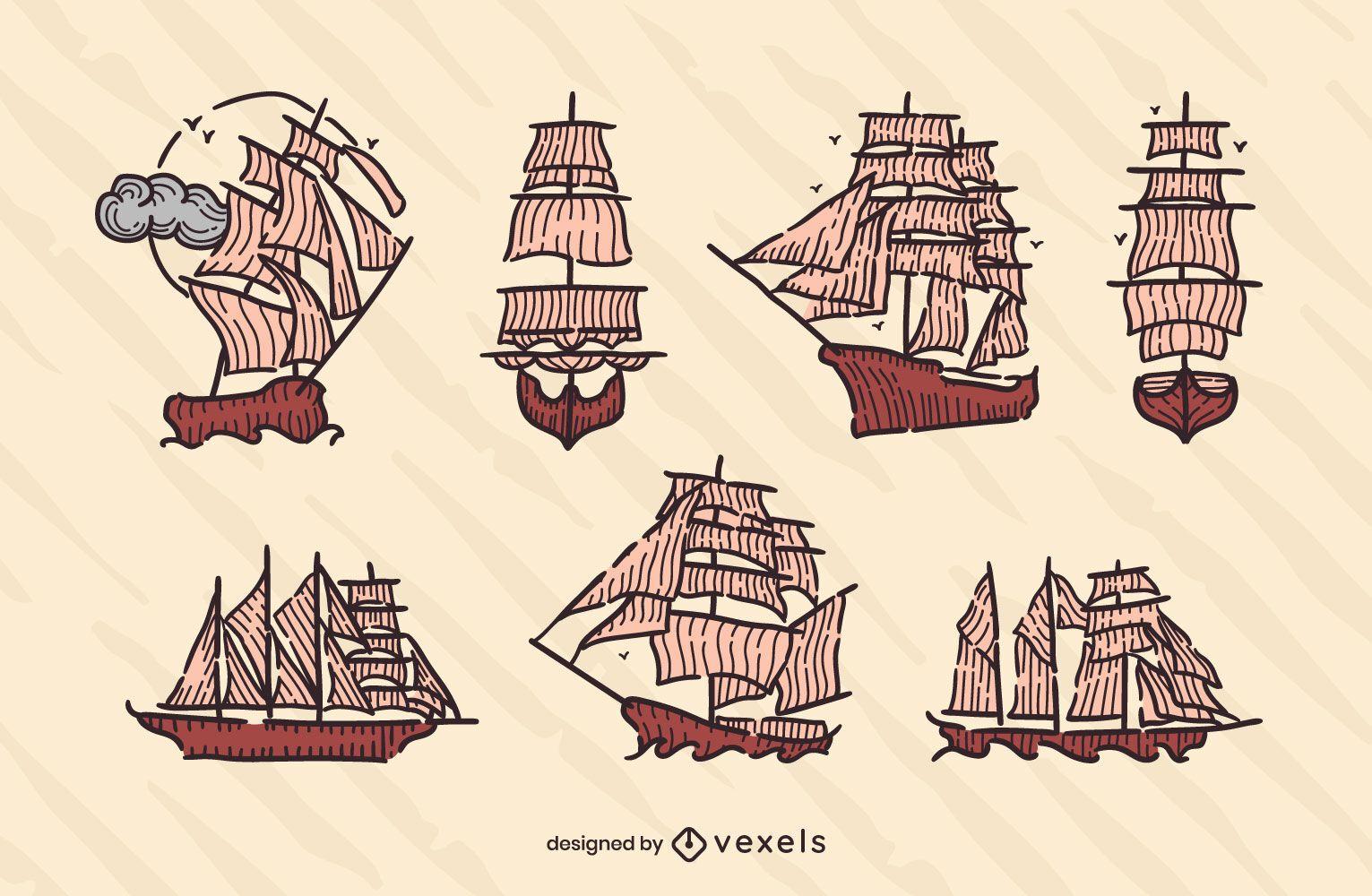 Conjunto de veleros vintage