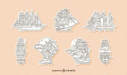 Conjunto de adesivos de veleiros vintage