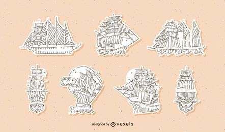 Vintage sailing ships sticker set