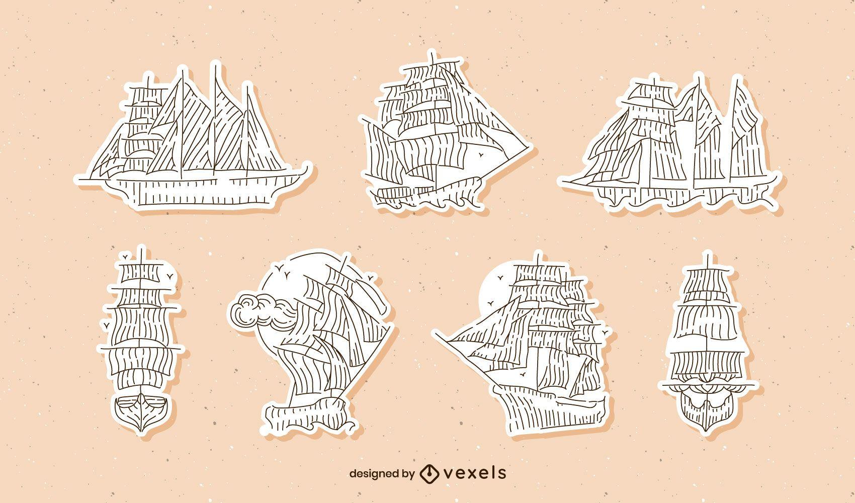 Set de pegatinas vintage de veleros