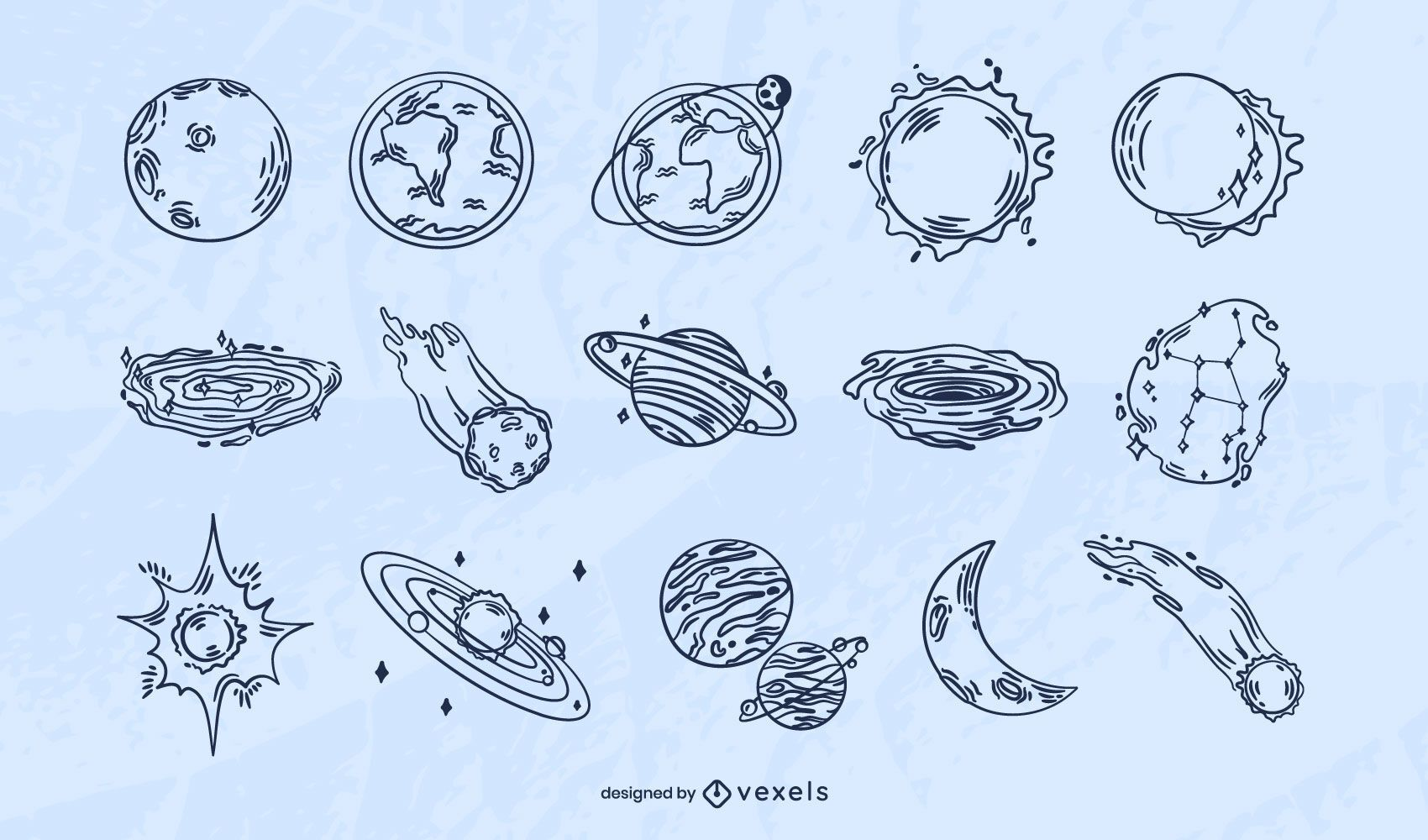 Outer space hand-drawn set