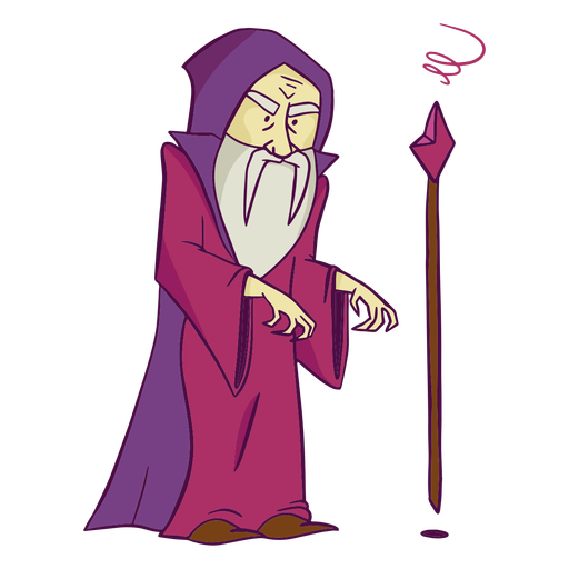 Purple wizard with staff color stroke
