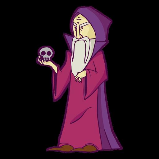 Purple wizard with skull color stroke