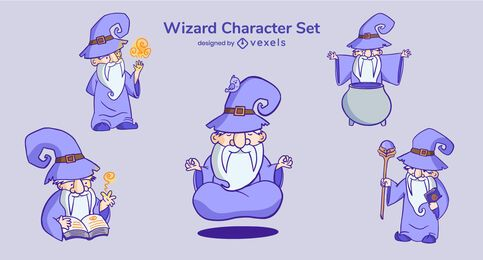 Wizard cartoon character set