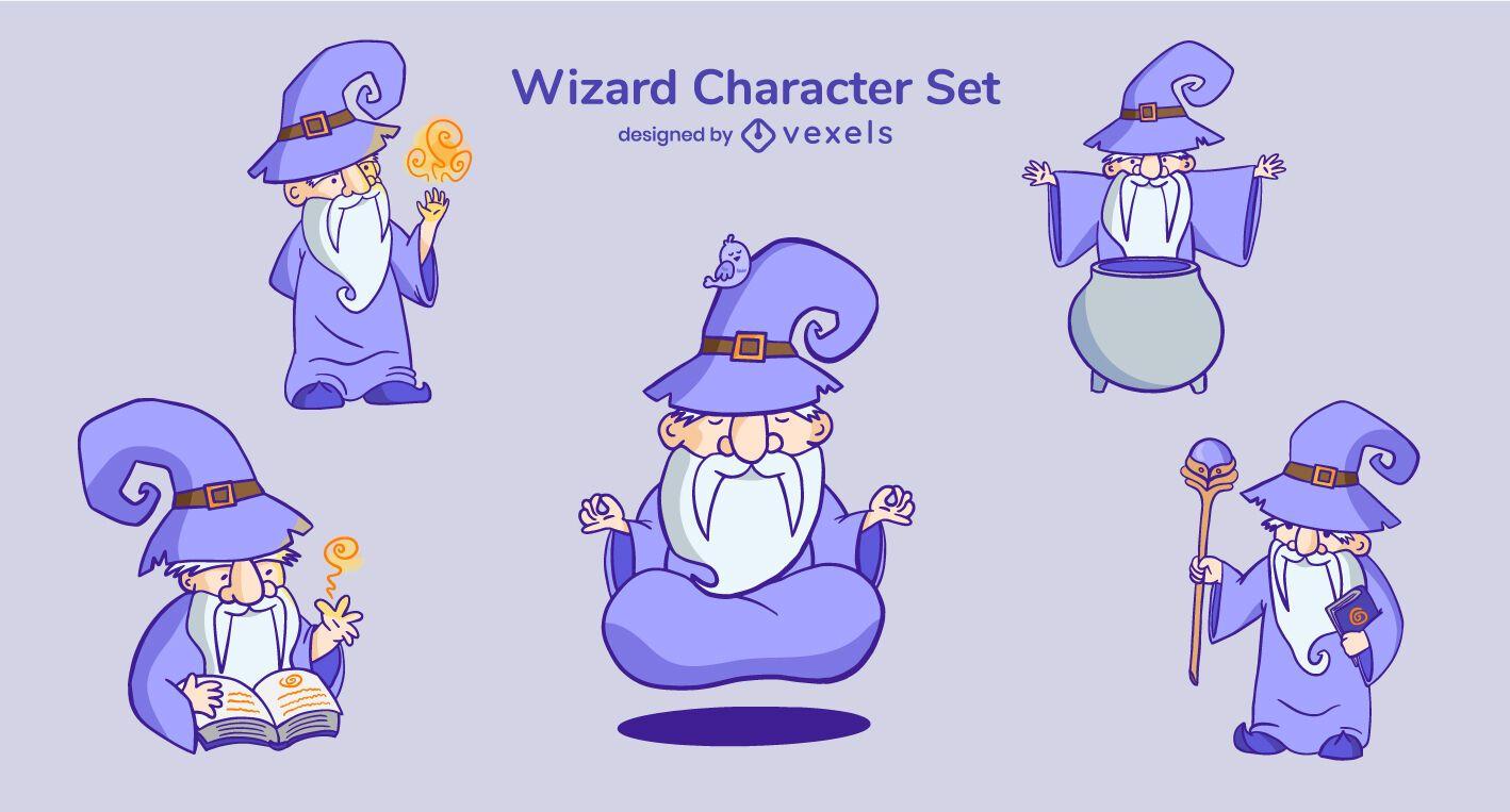 Conjunto de personajes de dibujos animados de mago