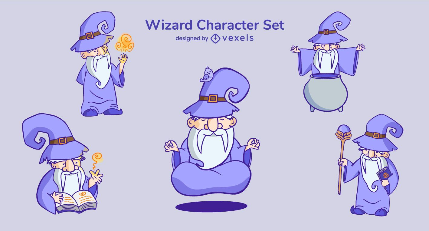 Wizard cartoon character set