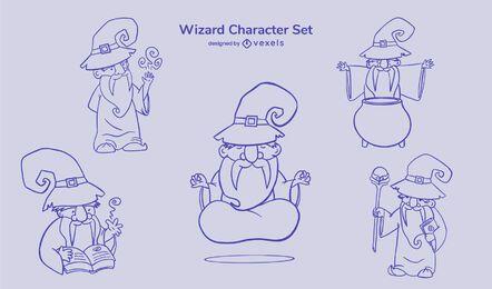 Wizard cute character stroke set