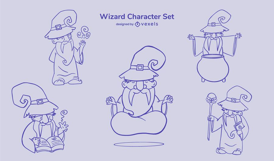 Conjunto de trazos de personajes lindos de mago