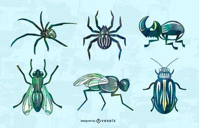 Watercolor bugs set