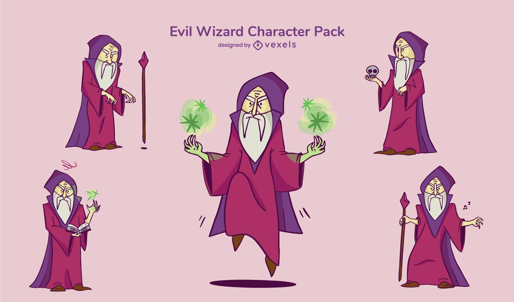 Conjunto de caracteres de mago malvado
