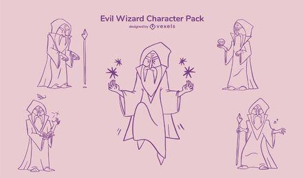 Evil wizard character stroke set