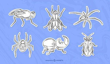 Conjunto de adesivos de insetos desenhados à mão