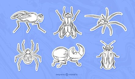 Hand-drawn bugs sticker set