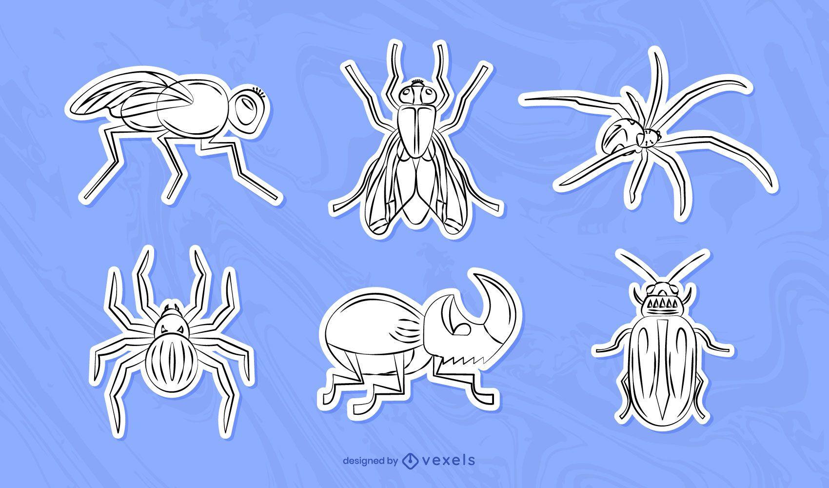 Set de pegatinas de insectos dibujados a mano