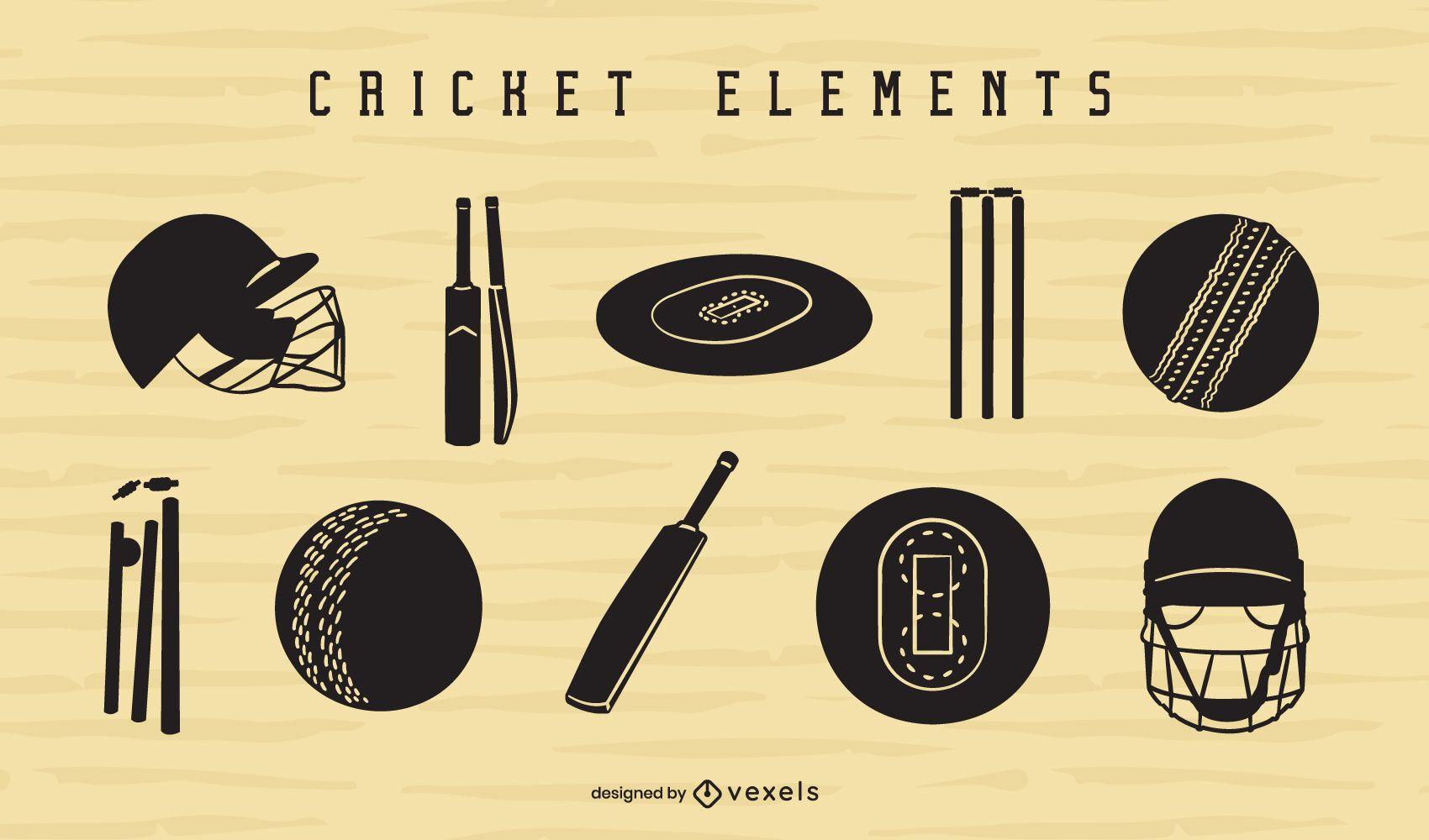Conjunto de recortes de elementos de cricket