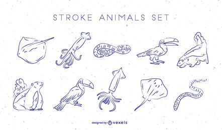 Animals hand drawn vector set