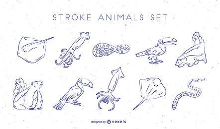 Von Hand gezeichneter Vektorsatz der Tiere