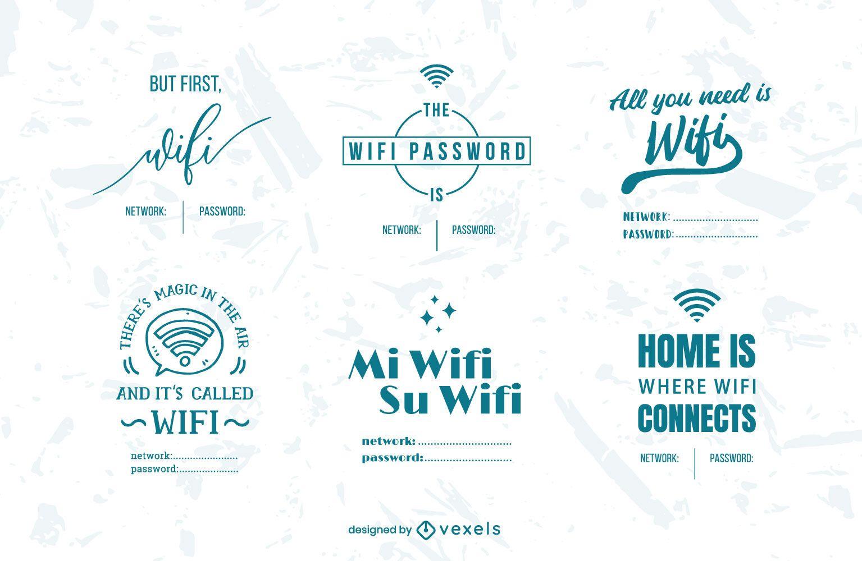 Conjunto de crachá de senha Wifi