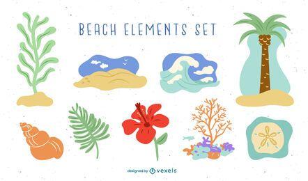 Conjunto de elementos de playa