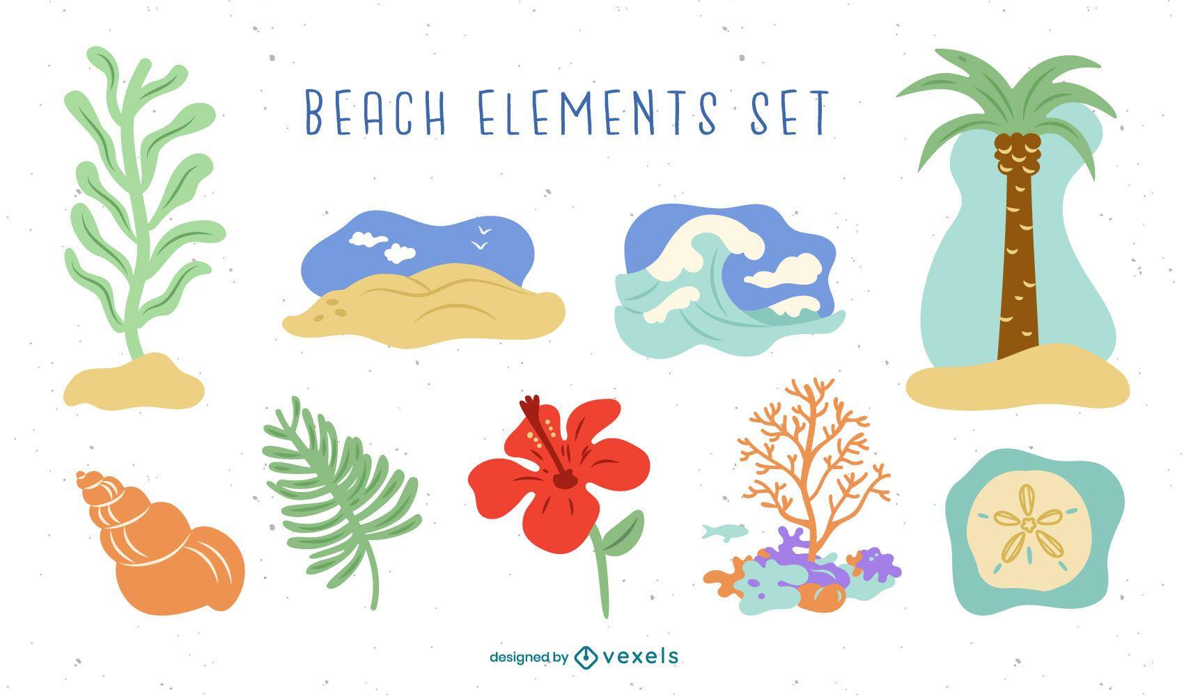 Conjunto de elementos de praia