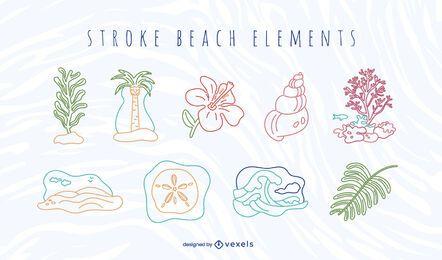 Conjunto de elementos de playa de trazo