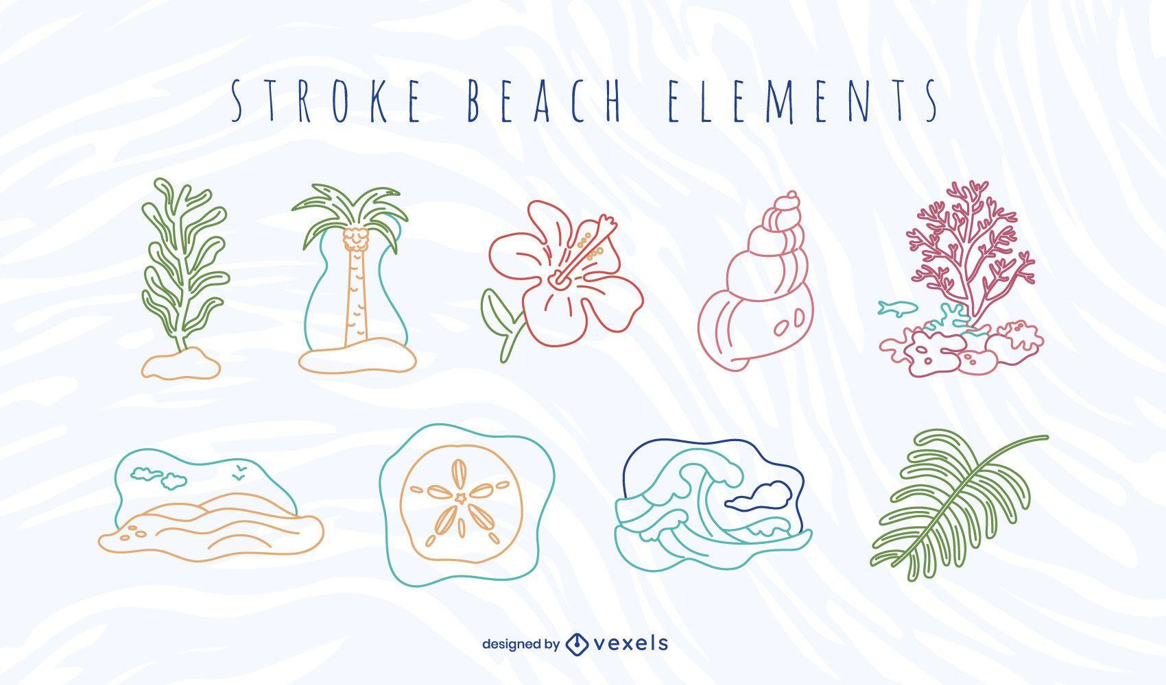 Conjunto de elementos de praia Stroke