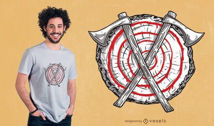 Diseño de camiseta de lanzamiento de hacha.