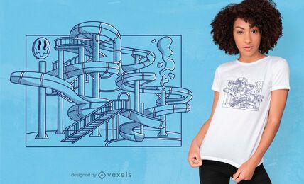 Diseño de camiseta de tobogán de agua