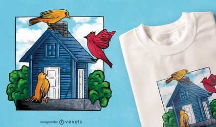 Design de t-shirt da casa do pássaro