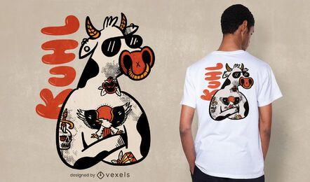 Diseño de camiseta de vaca tatuada.