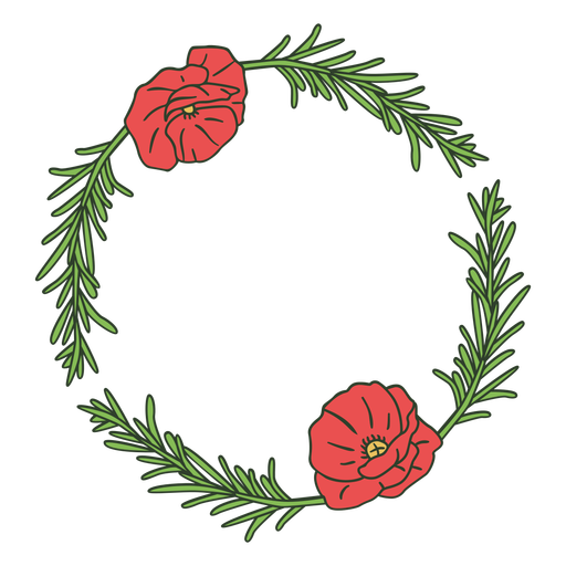 Leaves and flowers circle color stroke