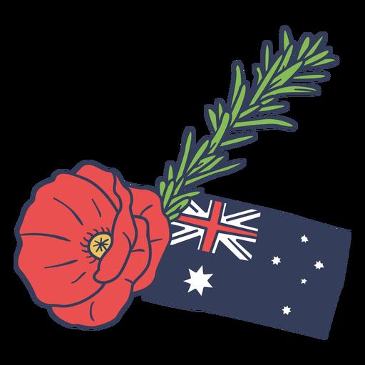 Anzac day flower with Australian flag