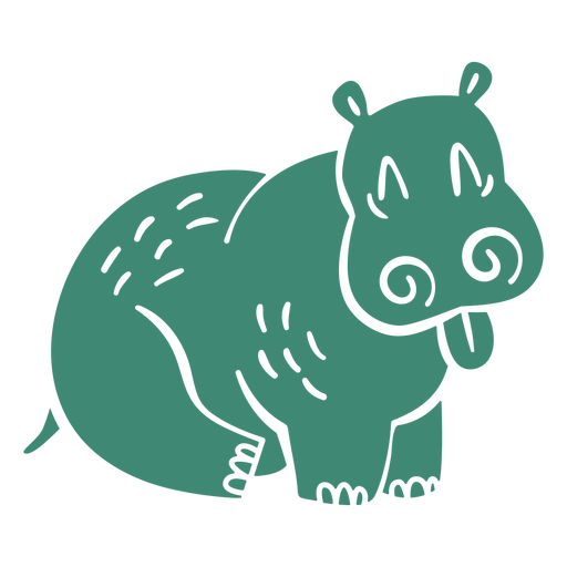 Hippo with tongue out cut out