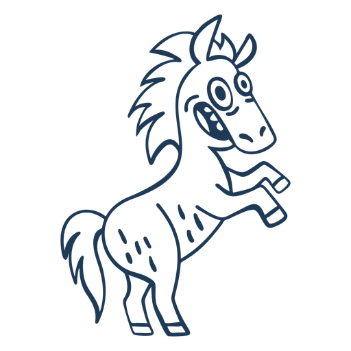 Standing horse cartoon stroke