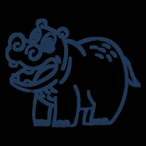 Hippo cartoon stroke standing