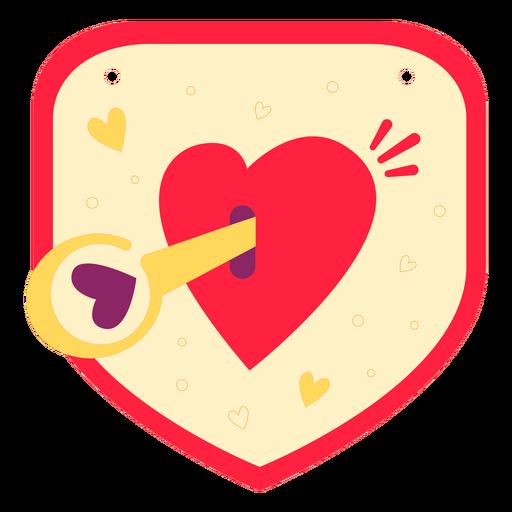 Heart's key badge flat